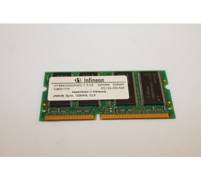 INFINEON HYS64V32220GDL-7.5-C2 256MB, 133MHZ, CL3 PC133 LAPTOP RAM