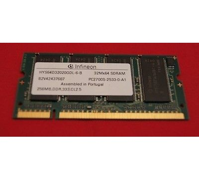 A PAIR OF INFINEON HYS64D32020GDL-6-B 256MB, DDR, 333MHZ PC2700