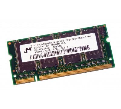 MICRON LAPTOP RAM MT8VDDT3264HDG-265C3 256MB, DDR, 266MHZ PC2100