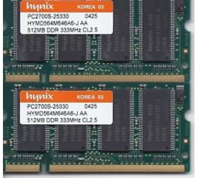 A PAIR OF HYNIX 512MB DDR 333MHZ PC2700 CL2.5 HYMD564M646B6-J AA LAPTOP MEMORY