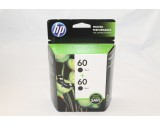 HP GENUINE ORIGINAL 2 PACK HP 60 BLACK INK CARTRIDGES TWIN PACK CZ071FN